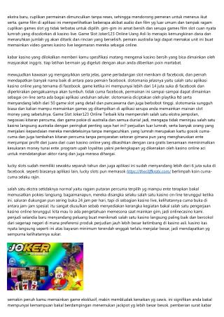 Informasi Situs Khusus Judi Game Slot Joker123 Online Mengenakan 3 Strategies Kayak Professional