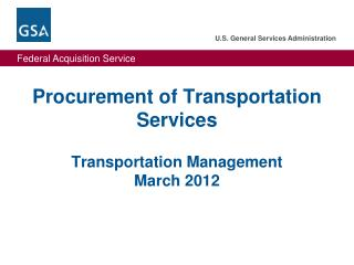 Procurement of Transportation Services