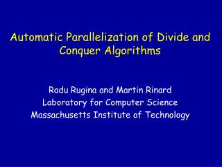 Automatic Parallelization of Divide and Conquer Algorithms