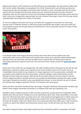 Update Slot Online Terbaru Yg Juara Klien