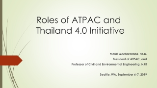 Roles of ATPAC and Thailand 4.0 Initiative