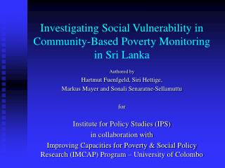 Investigating Social Vulnerability in Community-Based Poverty Monitoring in Sri Lanka