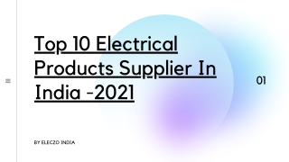 Top 10 Electrical Products Suppliers In india 2021