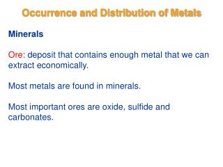 Occurrence and Distribution of Metals