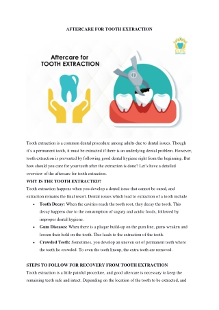AFTERCARE FOR TOOTH EXTRACTION