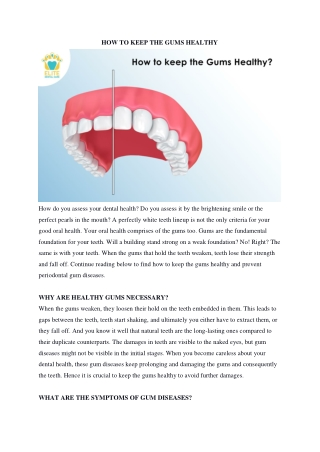 How to Keep the Gums Healthy
