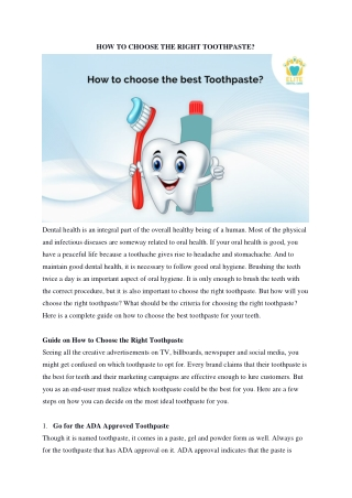 How to Choose Right Toothpaste