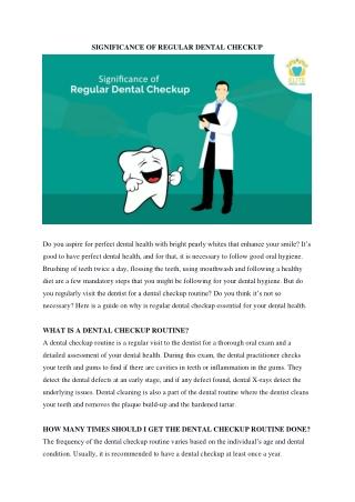 Significance of Regular Dental Checkup