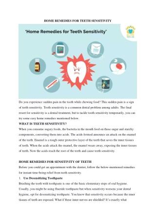 Home Remedies for Teeth Sensitivity