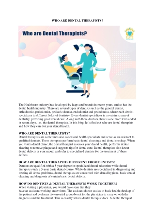 Who Are Dental Therapists