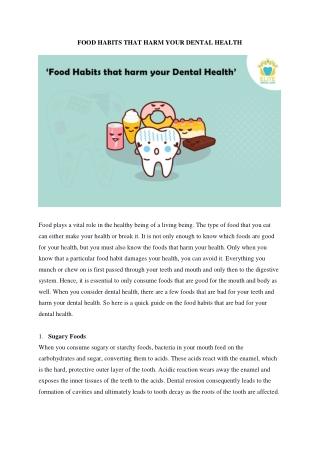 Food Habits That Harm Your Dental Health