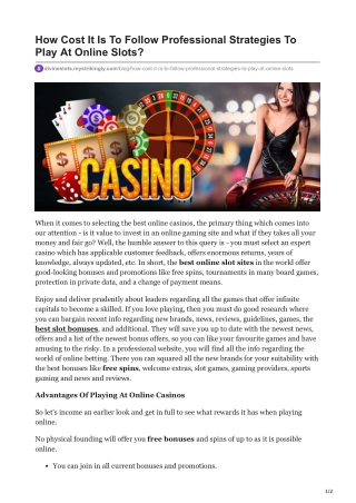 How Cost It Is To Follow Professional Strategies To Play At Online Slots