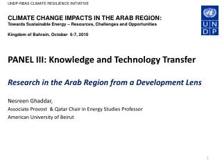 PANEL III: Knowledge and Technology Transfer  Research in the Arab Region from a Development Lens