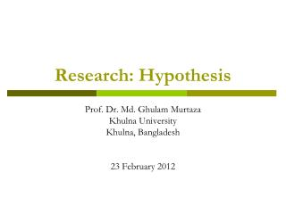 Research: Hypothesis