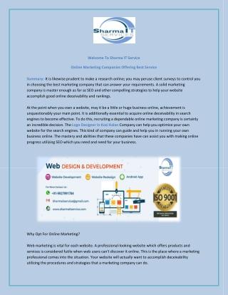 Online Marketing Companies Offering Best Service