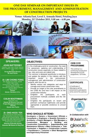 ONE DAY SEMINAR ON IMPORTANT ISSUES IN  THE PROCUREMENT, MANAGEMENT AND ADMINISTRATION OF CONSTRUCTION PROJECTS