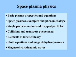 Space plasma physics