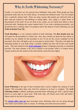 Why Is Teeth Whitening Necessary?