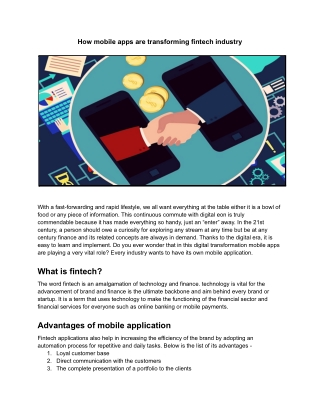 How mobile apps are transforming fintech industry - CodeStore Technologies