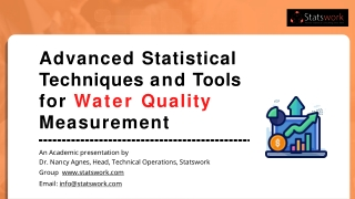Advanced Statistical Techniques and Tools for Water Quality Measurement