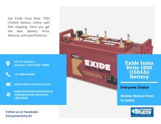 Best Exide Insta Brite 1500 (150Ah) Battery