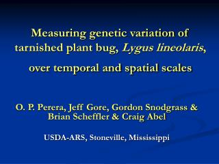 Measuring genetic variation of tarnished plant bug,  Lygus lineolaris , over temporal and spatial scales