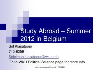 Study Abroad – Summer 2012 in Belgium