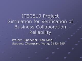 ITEC810 Project Simulation for Verification of  Business Collaboration Reliability