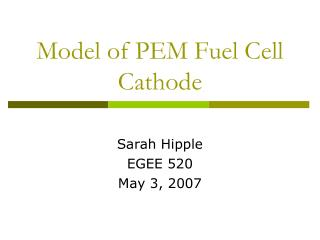 Model of PEM Fuel Cell Cathode