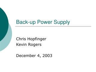 Back-up Power Supply