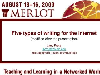 Five types of writing for the Internet modified after the presentation
