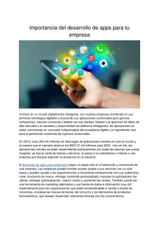 Importancia Del Desarrollo De Apps Para Tu Empresa