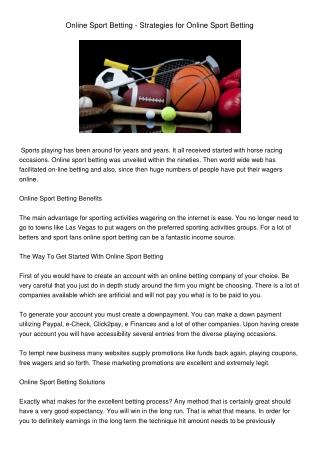 OnlineSportBetting-StrategiesforOnlineSportBetting