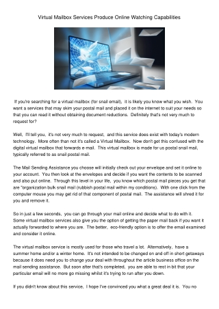 VirtualMailboxServicesProduceOnlineWatchingCapabilities