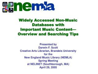 Widely Accessed Non-Music Databases with  Important Music Content  Overview and Searching Tips