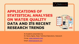 Applications of Statistical Analyses on Water Quality data and its recent research trends - Statswork