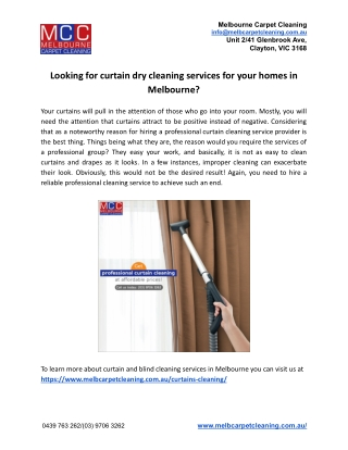 Looking for curtain dry cleaning services for your homes in Melbourne?