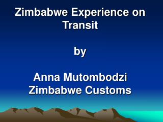 Zimbabwe Experience on Transit by Anna Mutombodzi Zimbabwe Customs