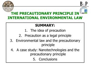 THE PRECAUTIONARY PRINCIPLE IN INTERNATIONAL ENVIRONMENTAL LAW