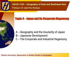 Topic 4 – Japan and its Corporate Hegemony