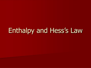 Enthalpy and Hess's Law