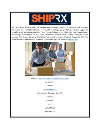 Parcel Audit |  Shiprx