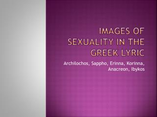 Images of Sexuality in the Greek Lyric