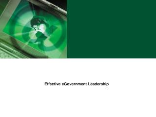 Effective eGovernment Leadership