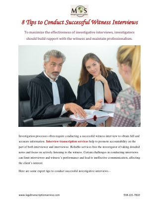 8 Tips to Conduct Successful Witness Interviews
