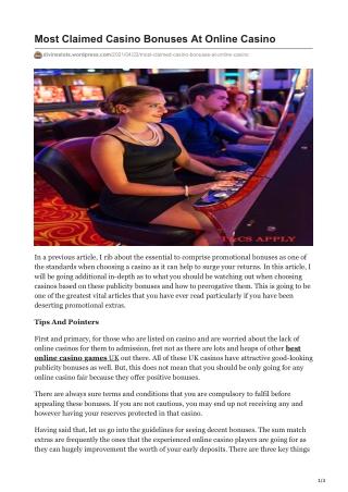 Most Claimed Casino Bonuses At Online Casino