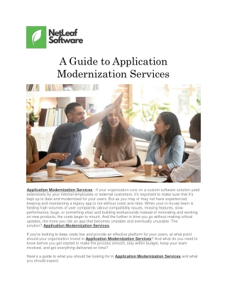 A Guide to Application Modernization Services