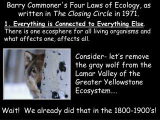 Barry Commoner's Four Laws of Ecology, as written in  The Closing Circle  in 1971.