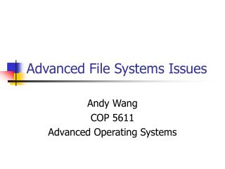 Advanced File Systems Issues