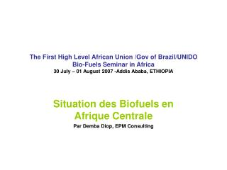 The First High Level African Union /Gov of Brazil/UNIDO Bio-Fuels Seminar in Africa 30 July – 01 August 2007 -Addis Aba